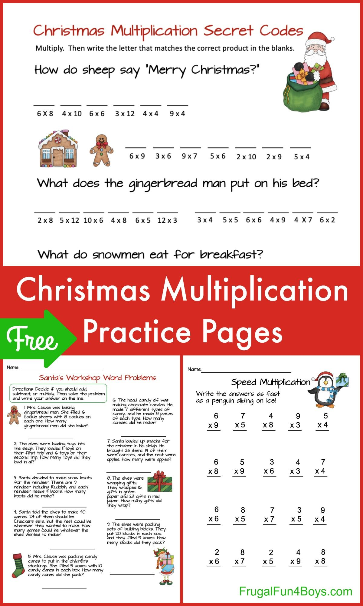 Make Math Fun With Christmas Multiplication Pages