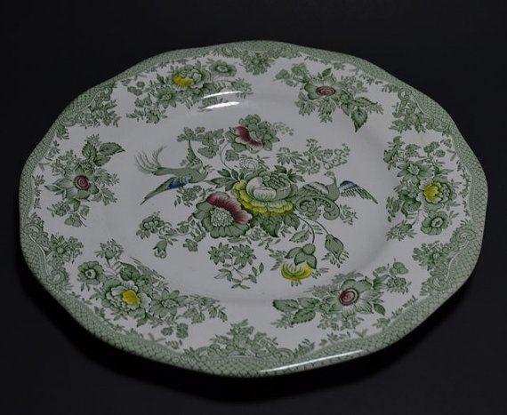 Vintage Enoch Wedgwood Tunstall Kent England Oriental Asiatic Pheasants Pattern 10 Inch Dinner Plate Hand Engraving Green & Vintage Enoch Wedgwood Tunstall Kent England Oriental Asiatic ...
