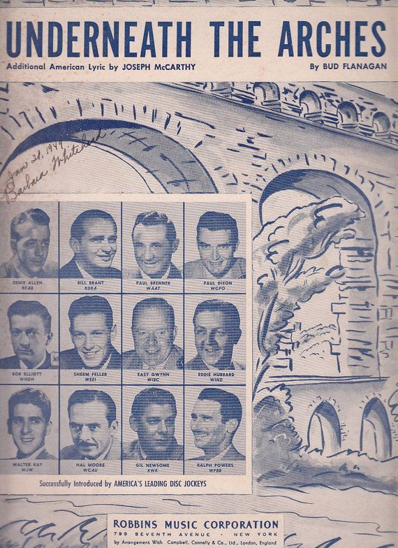Underneath the Arches 1933 Sheet Music Bud Flanagan America's Disc Jockeys