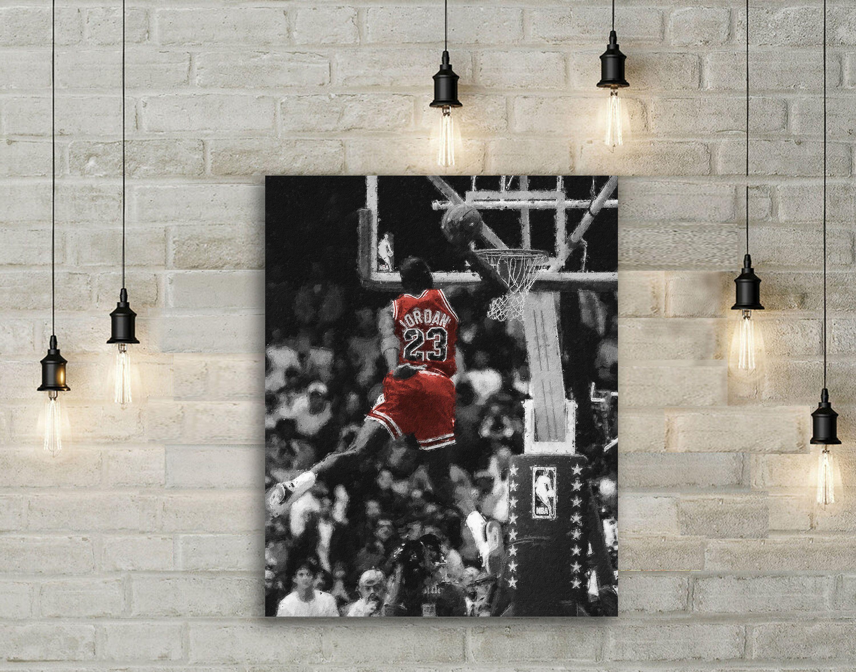 Michael Jordan Canvas Print Chicago Bulls Wall Art Sports Etsy Sports Wall Art Michael Jordan Canvas Sports Prints