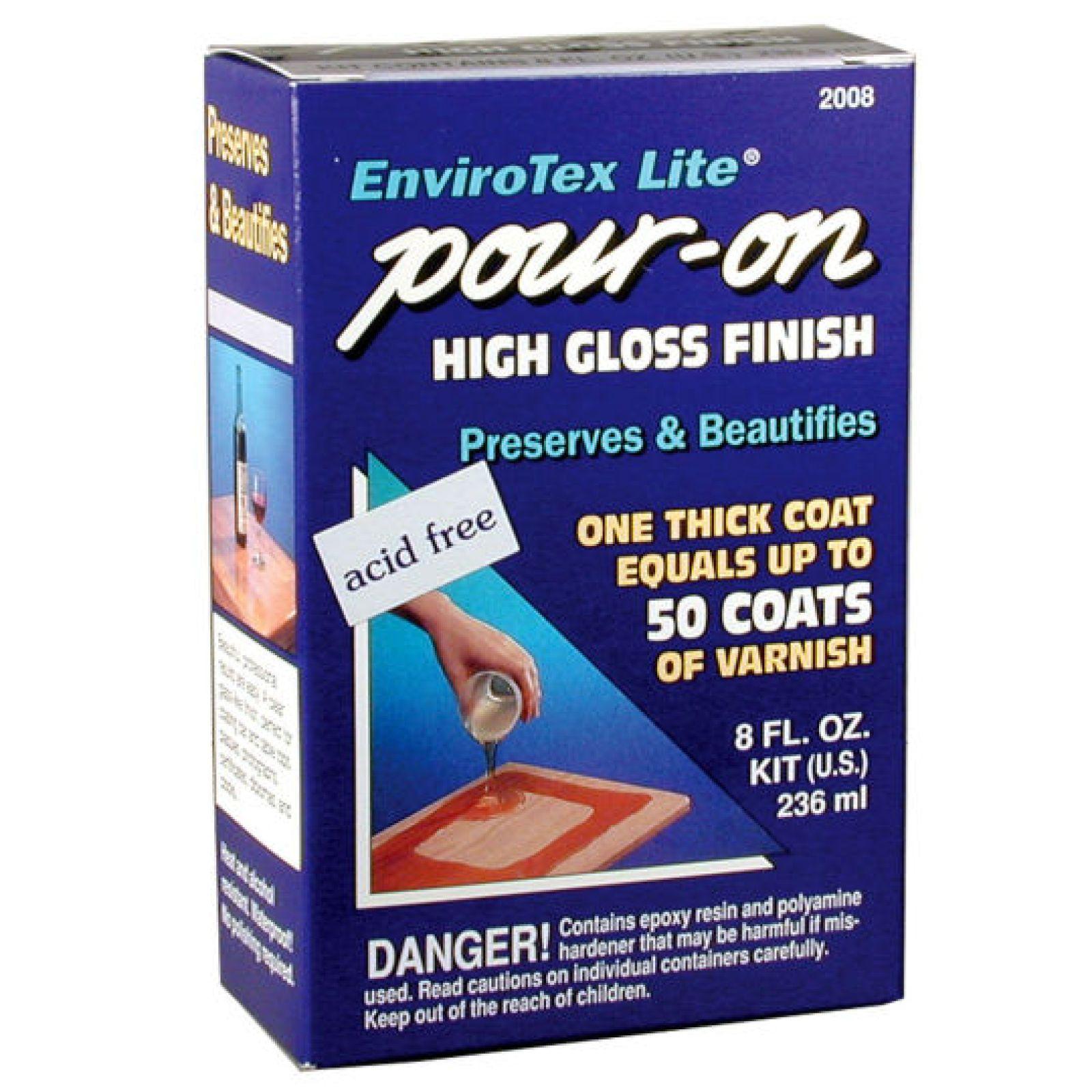 Envirotex lite pouron high gloss finish furniture woodwork