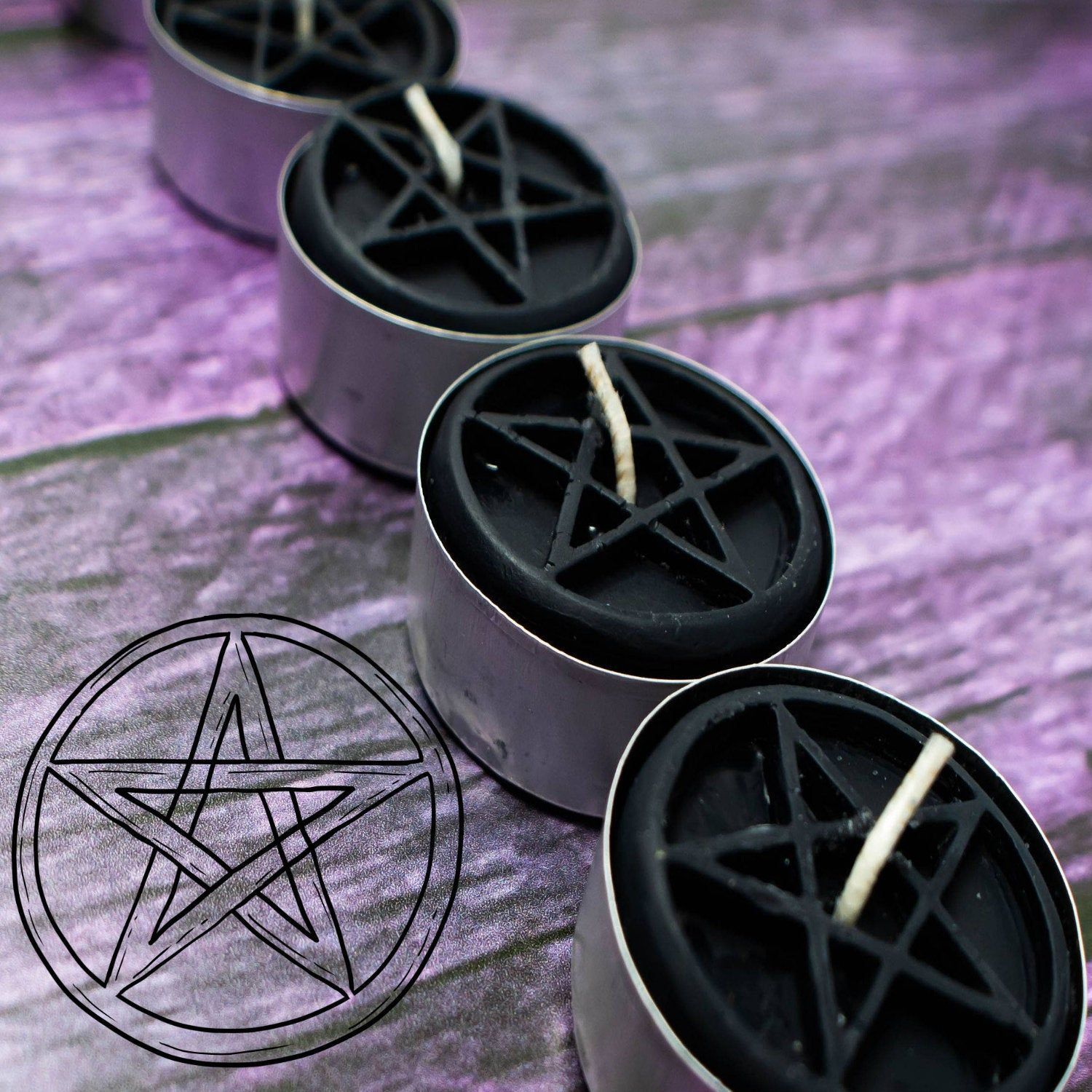 Scented Pentacle Pentegram Tealight Candles  Wiccan Altar and Ritual Candles for Candle Magick and Witchcraft  Spell Halloween Candles