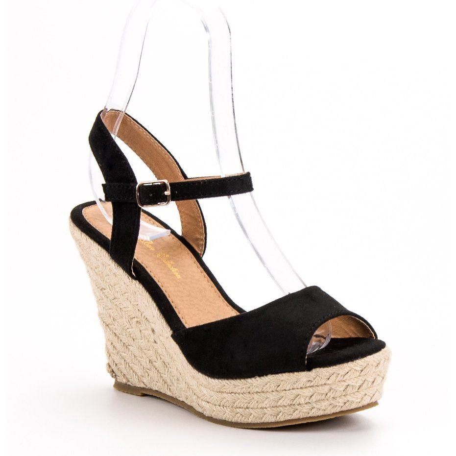 Czarne Sandalki Wedge Espadrille Shoes Espadrilles