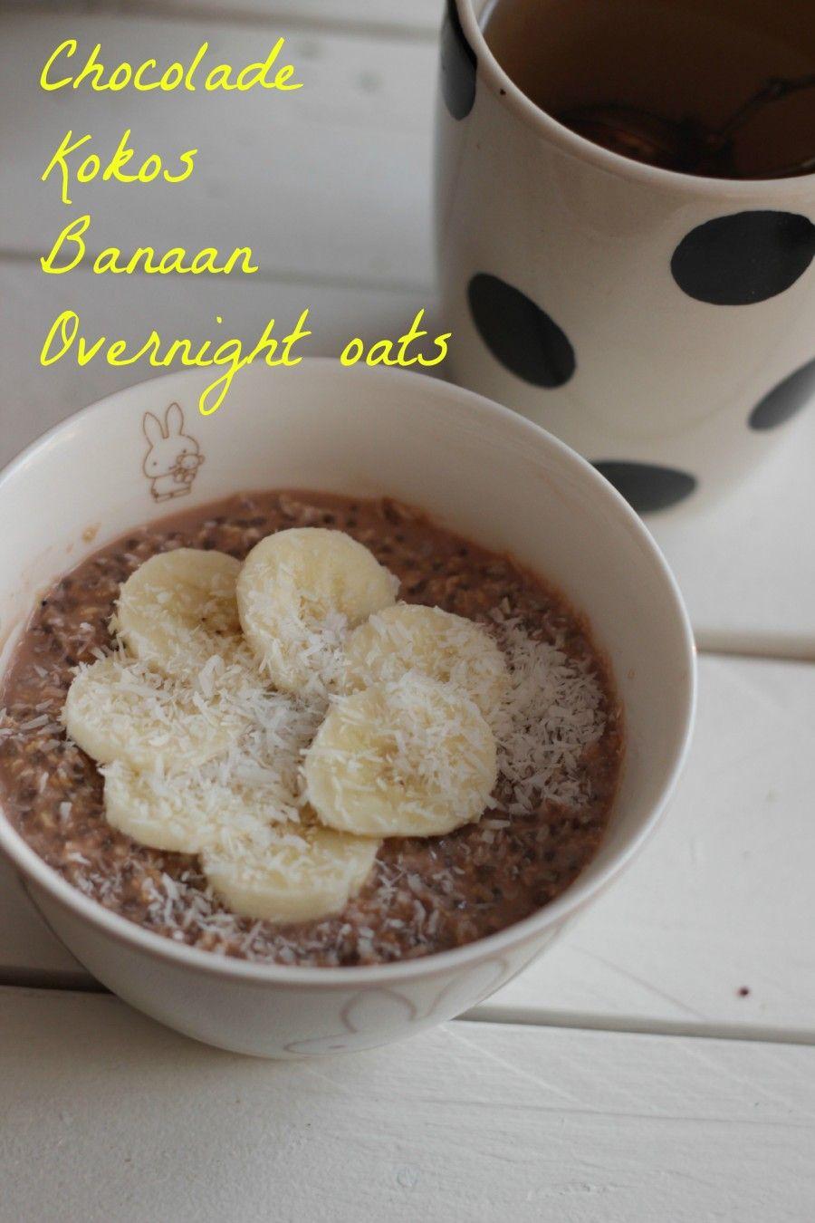 Chocolade Banaan Kokos Overnight Oats