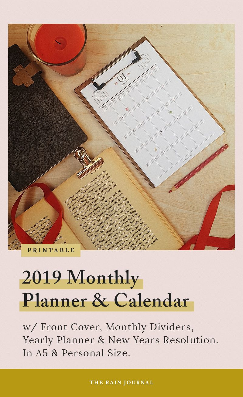 2019 Monthly Planner, 2019 Calendar, 2019 Wall Calendar