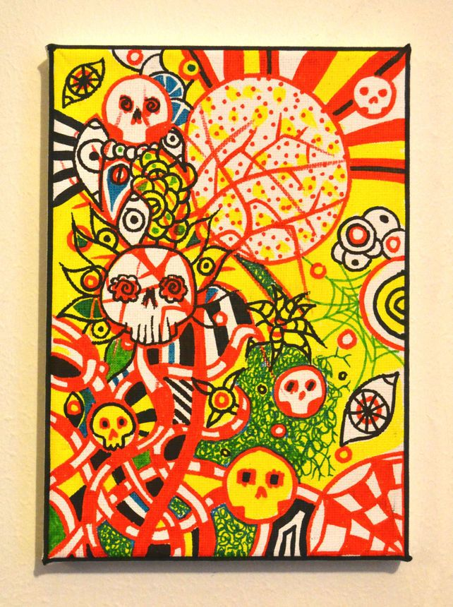 Original Bright Gothic Psychedelic Wall Art Gift,Modern Creepy Home ...