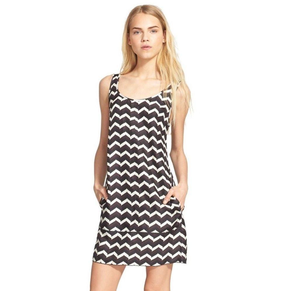 NWT $450 Rag & Bone Allie Chevron Zig Zag Print Silk Shift Tunic Slip Dress 0 XS #ragbone #SheathShiftTunic #Casual