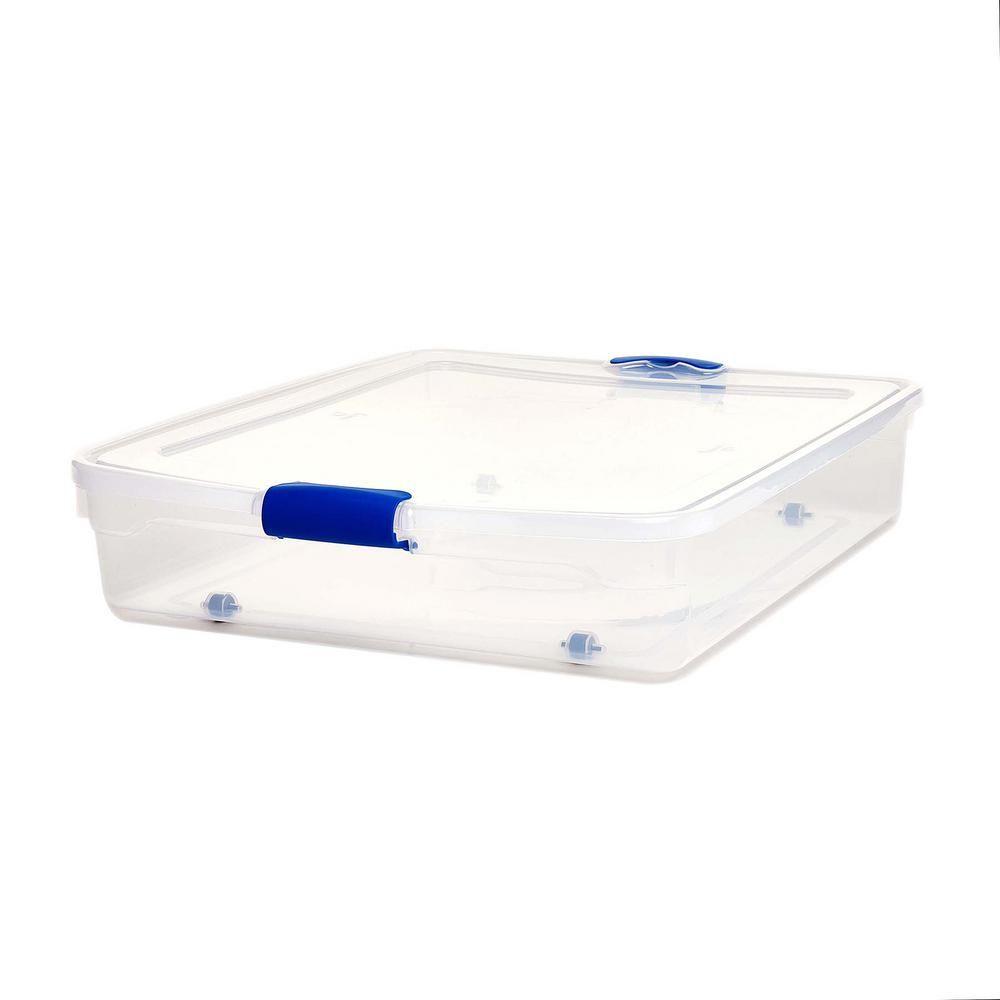 56 Qt Full Queen Under Bed Latching Clear Storage Box 2 Pack