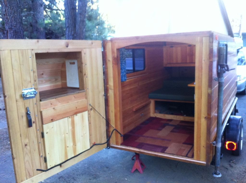 Self Made Wooden Camper Kleine Cabine Instructables In 2020 Homemade Camper Diy Camper Trailer Micro Camper