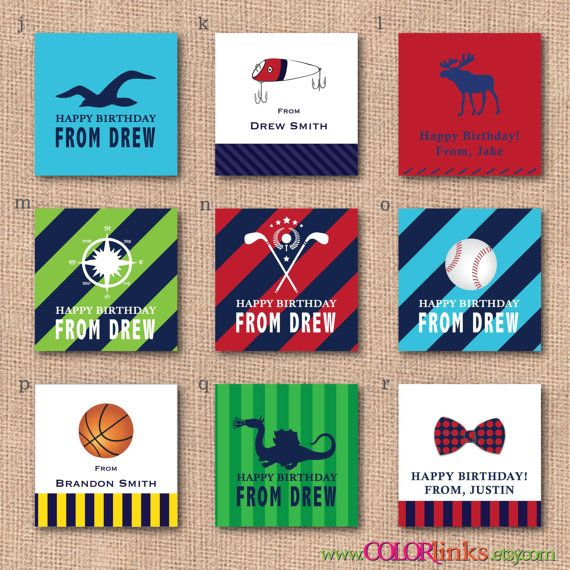 Personalized calling cards for BOYS gift tags labels by ColorLinks ...