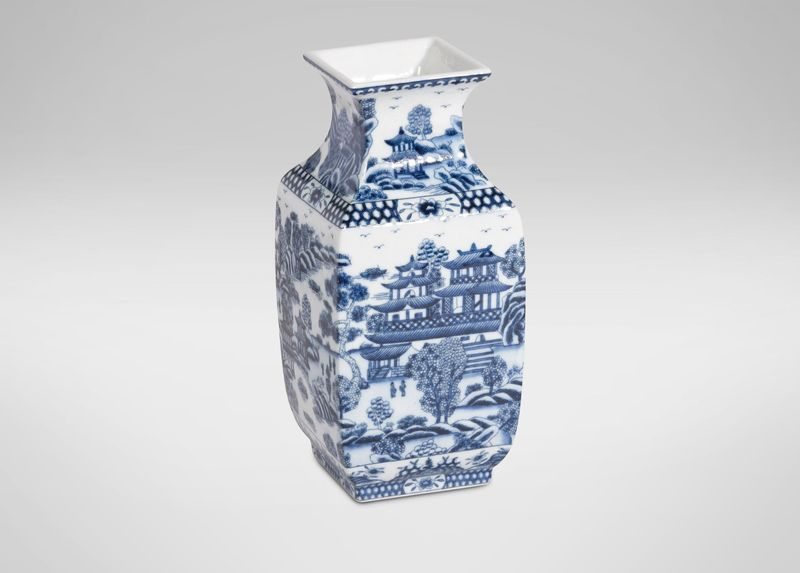 Blue And White Square Vase Ethan Allen Home Decor Pinterest