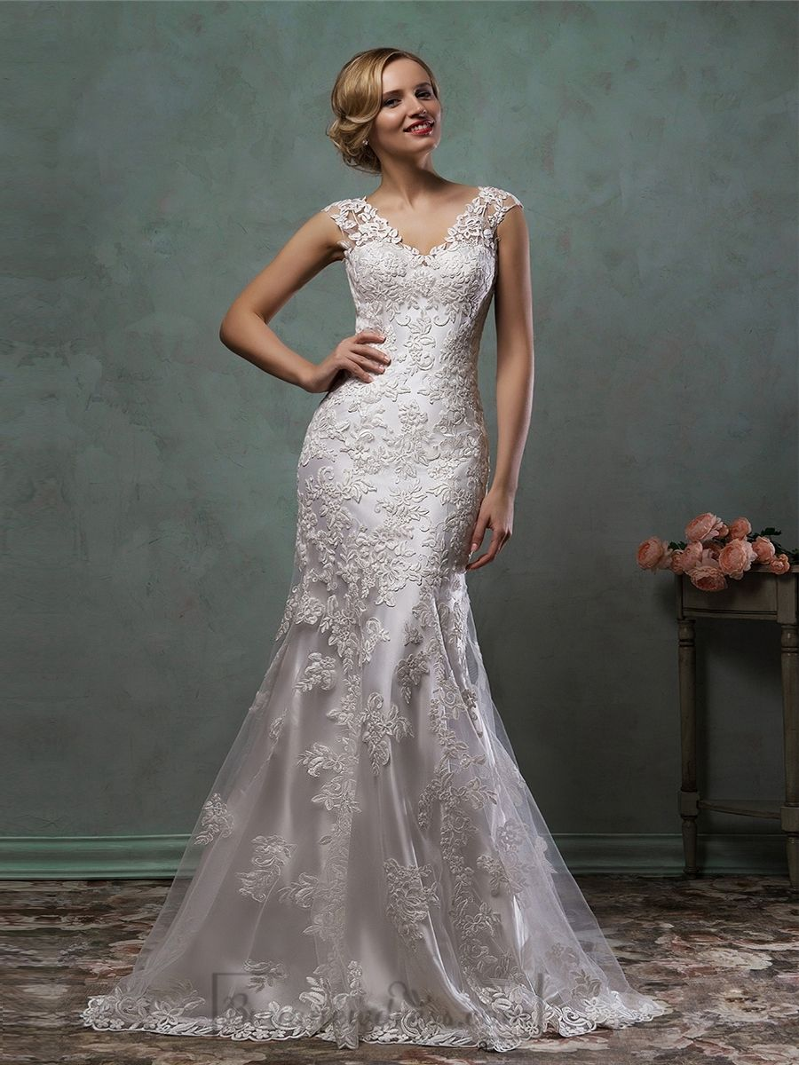 Cap sleeves v neck lace embroidery fit flare trumpet for Trumpet mermaid wedding dress with sleeves
