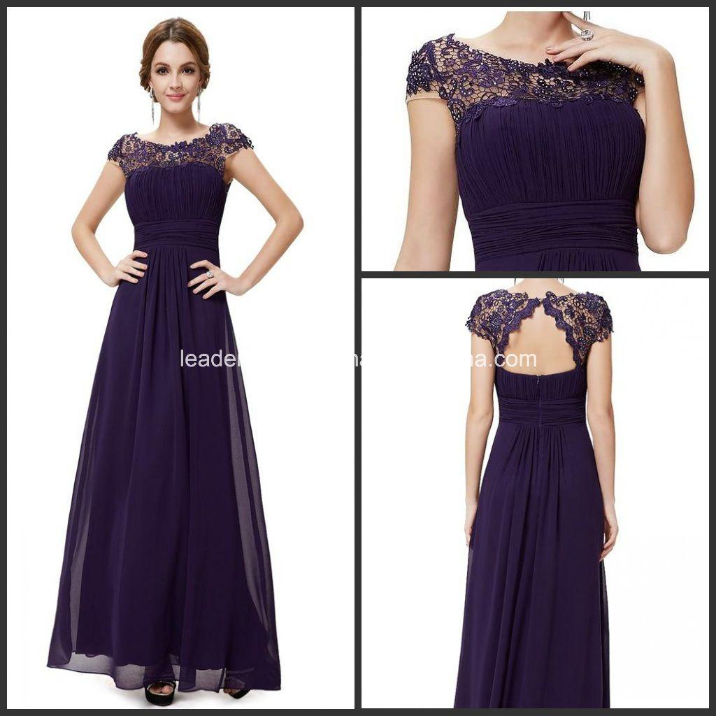 Purple Lace Chiffon Formal Bridesmaid Dresses P14944 ...