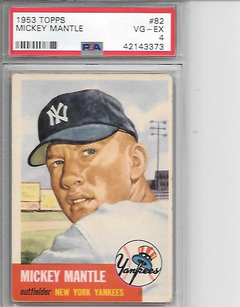1953 Topps Mickey Mantle Psa Vg Ex 4 Mickey Mantle Baseball