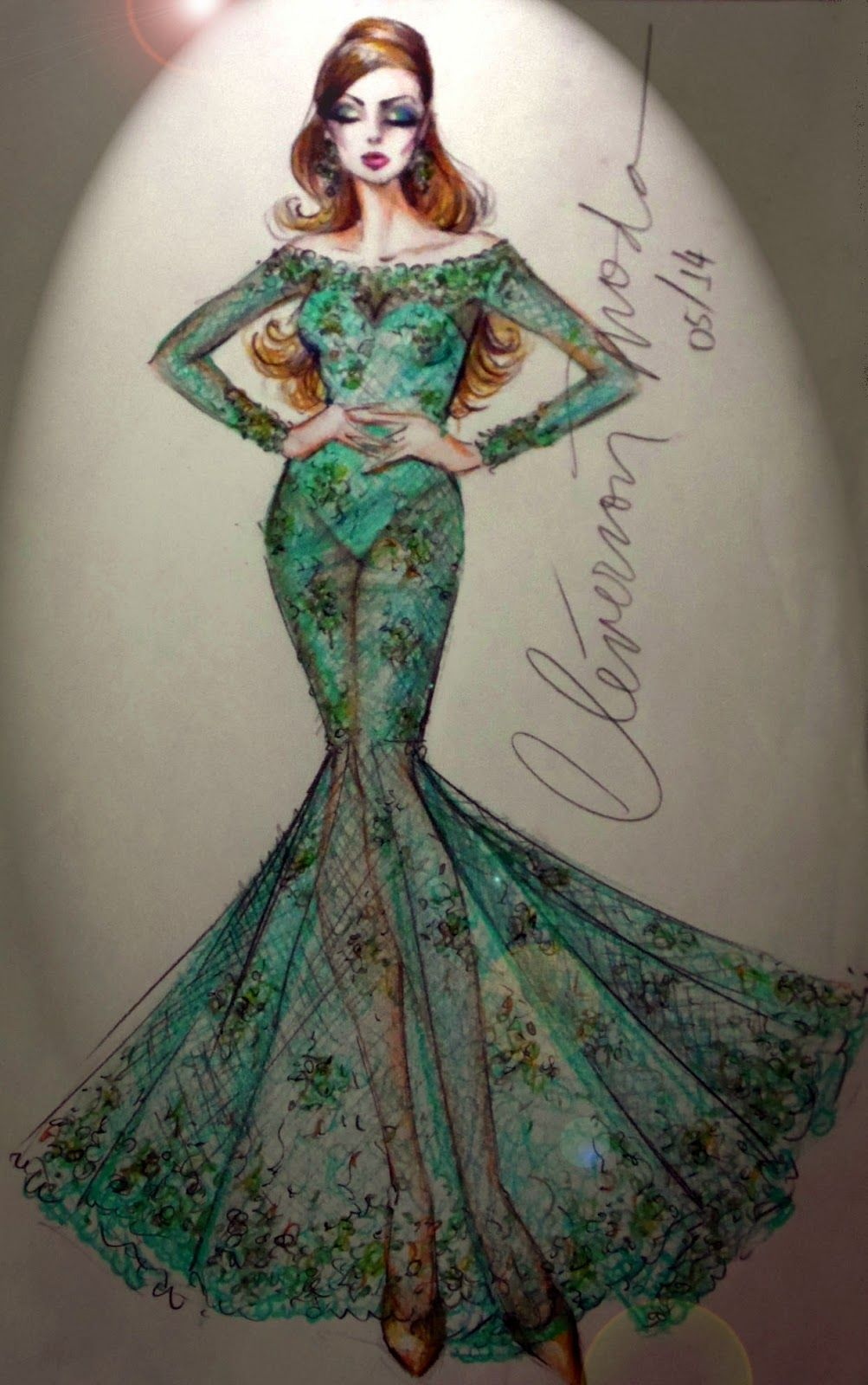 DESENHOS DE MODA: Desenho de vestido sereia de renda todo rebordado....
