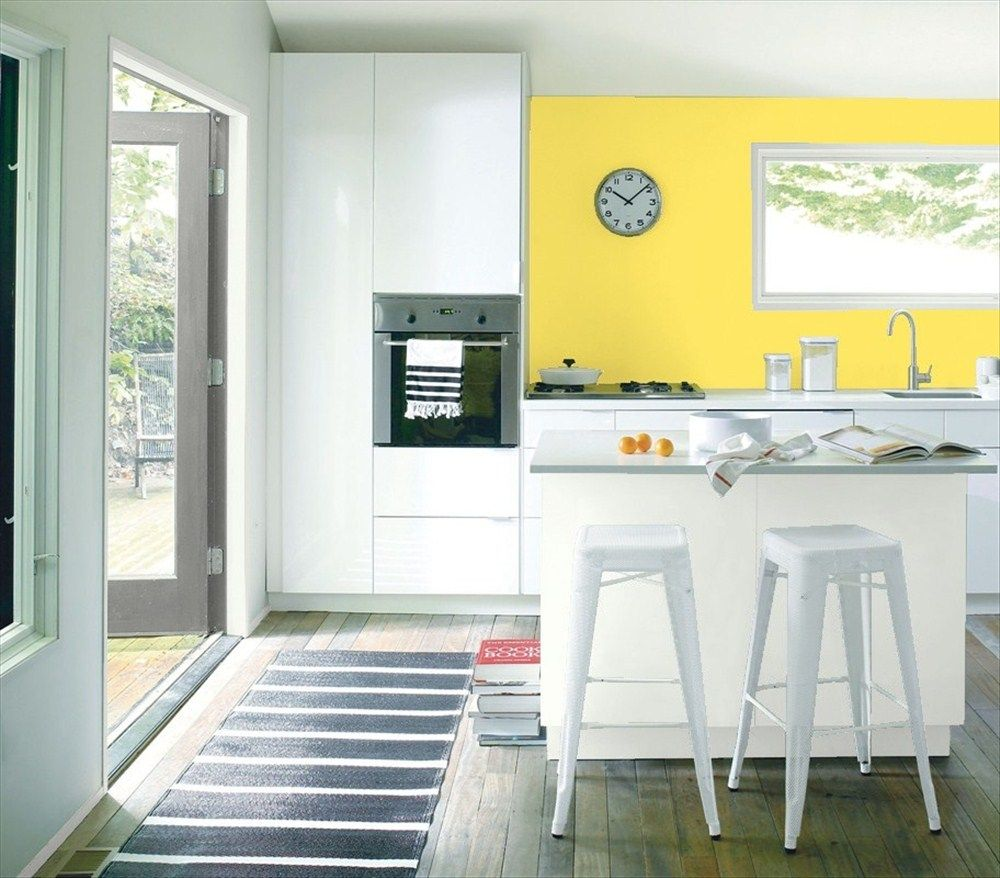 White Kitchen Orange Accents go bananas! accent wall color: banana yellow - under island