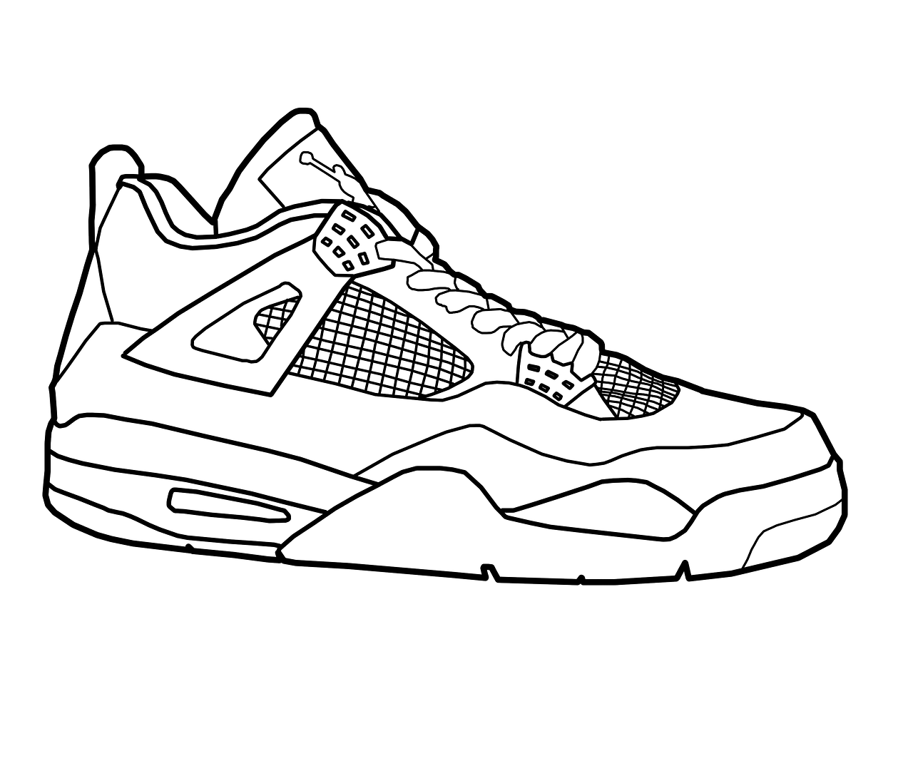 Coloring pages for jordans - Jordan 4 Shoes Coloring Pages