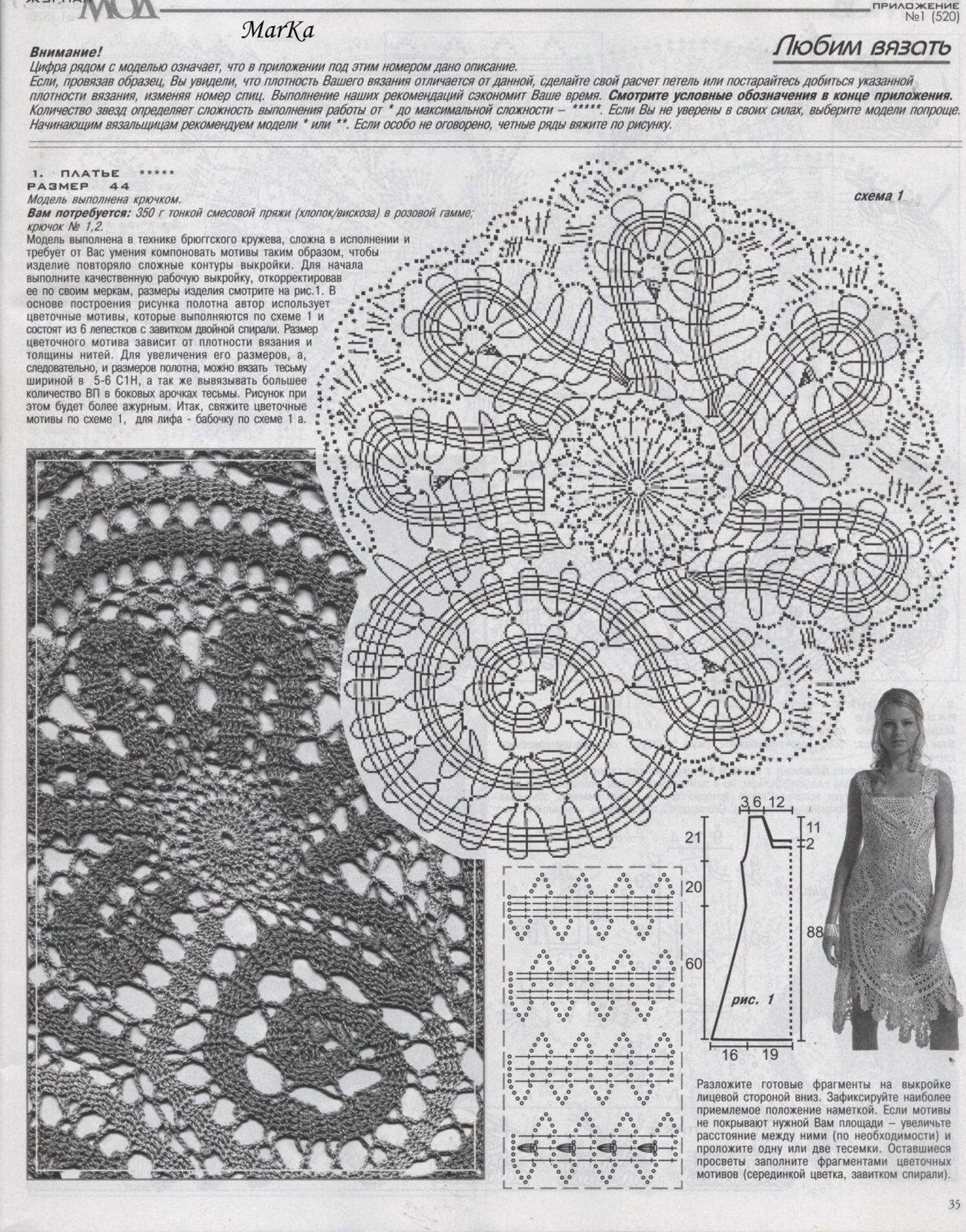 a very large bruges lace motif- a very organic shape- flowery & spiral-y  *dress pattern, zhurnal mod