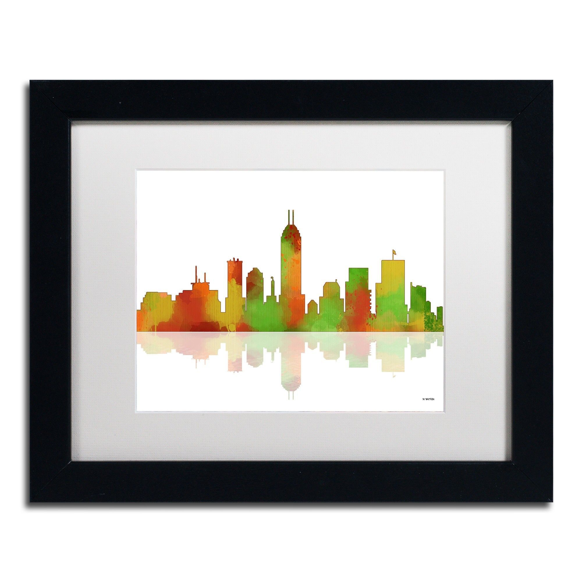 Indianapolis Indiana Skyline II by Marlene Watson Framed Graphic Art ...