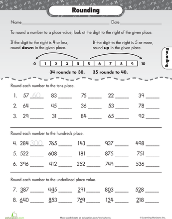 Let S Go Rounding Worksheet Education Com Third Grade Math Rounding Worksheets 3rd Grade Math