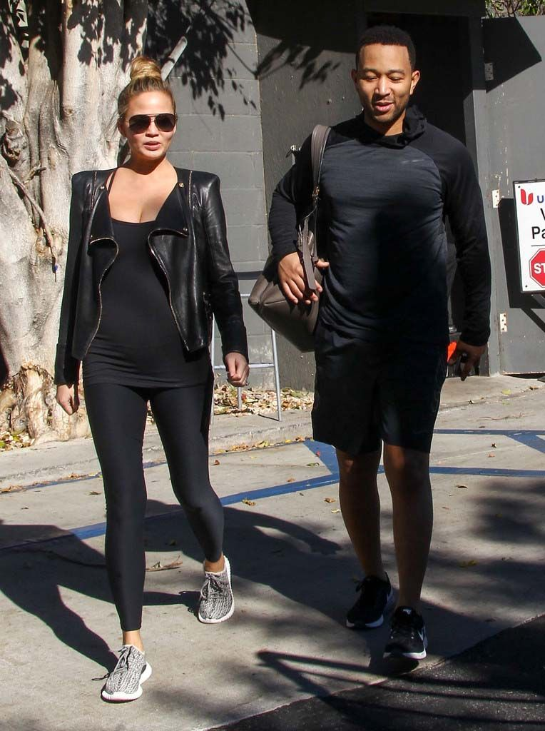 ec93ca55dcf4 Chrissy Teigen and John Legend run errands in Hollywood  chrissyteigen   johnlegend  hollywood  balmain  leatherbiker  kanye  yeezy  yeezy350boost   sneakers
