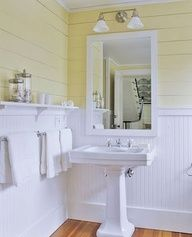 Bead Board Bathroom With Pedestal Sink (powder Room Idea)