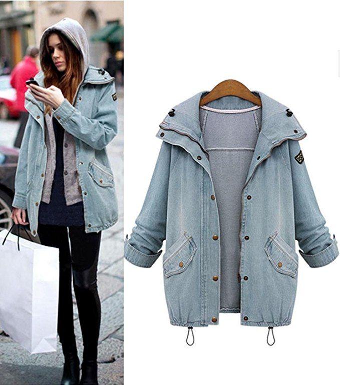 2fbada93d3b5 IMJONO Damen Mantel Wintermantel Winterparka Winterjacke Jacke Denim Trench  Parka Outwear  Amazon.de