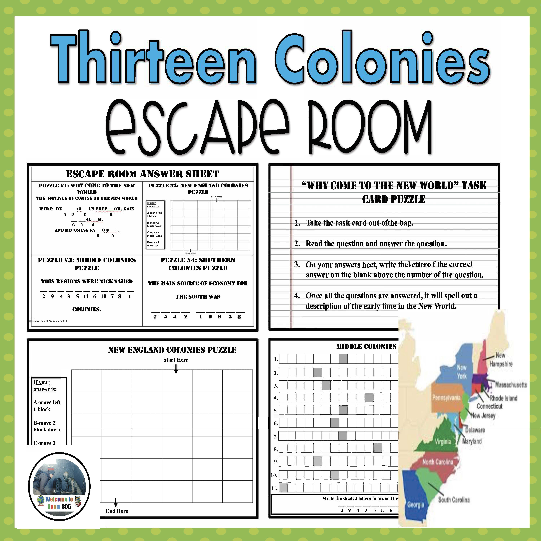 13 Colonies Escape Room Escape Room 13 Colonies Social Studies Notebook