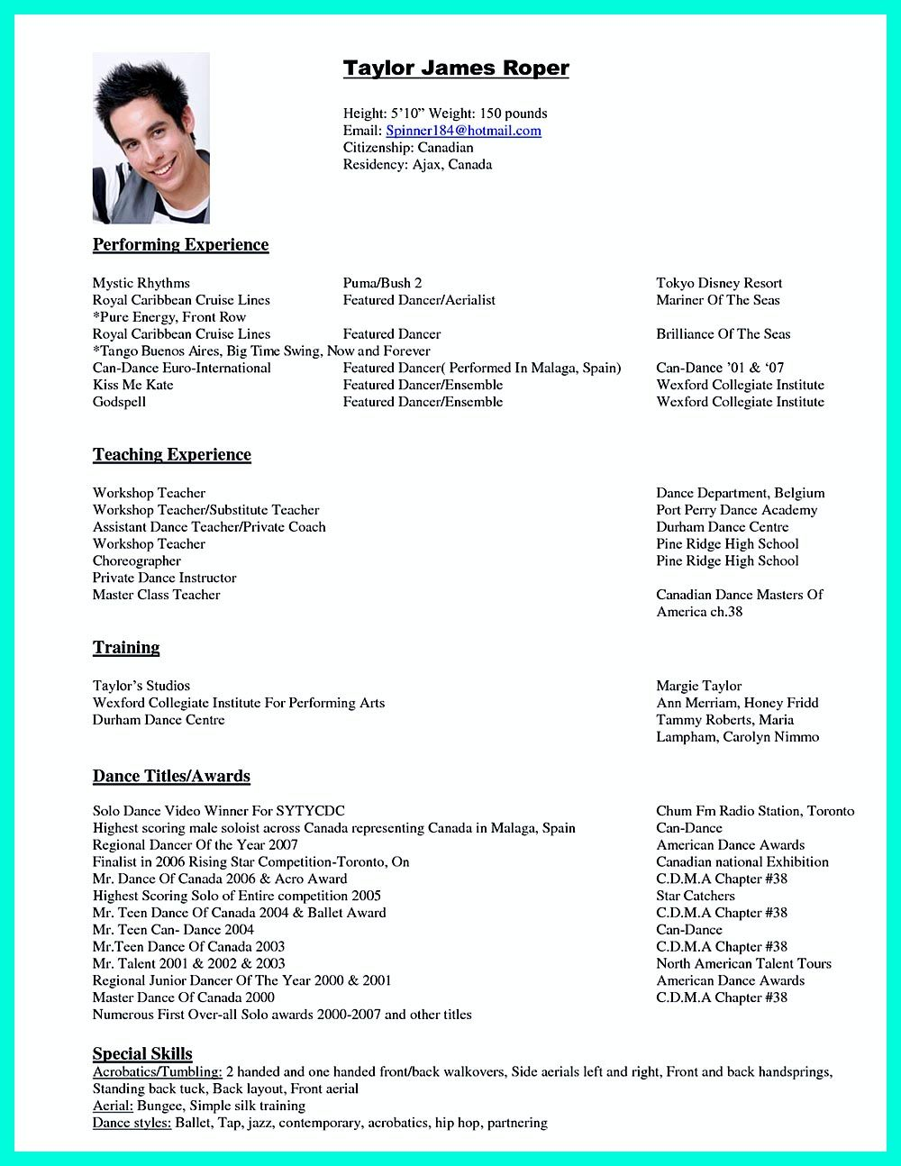 The Best And Impressive Dance Resume Examples Collections Dance Resume Resume Examples Acting Resume
