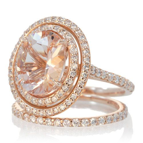 Bridal Set 14 Karat Rose Gold OVAL Double Halo Diamond Morganite Engagement A