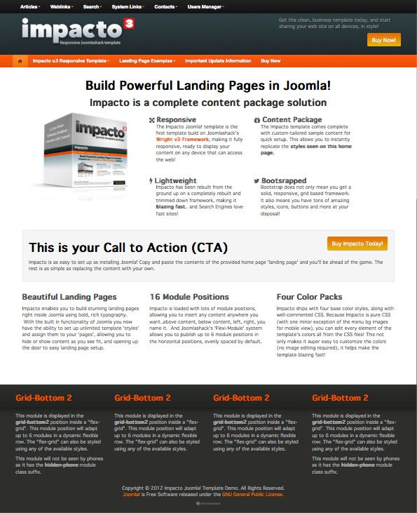 Impacto V Joomla Landing Page Template Joomla Templates - Joomla landing page template
