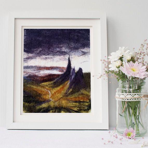 Wall Art Felt Painting Of Scottish Landscape Mountains Isle Of Skye Fibre Art Wool Painting Scotland Purple Yellow Handmade Dee Painting Art Scottish Landscape