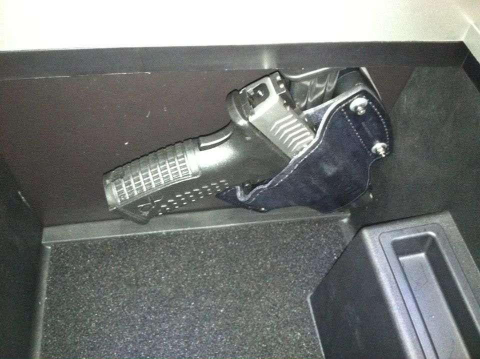 Gun Holster Mounted In Car S Console Box Gun Holsters