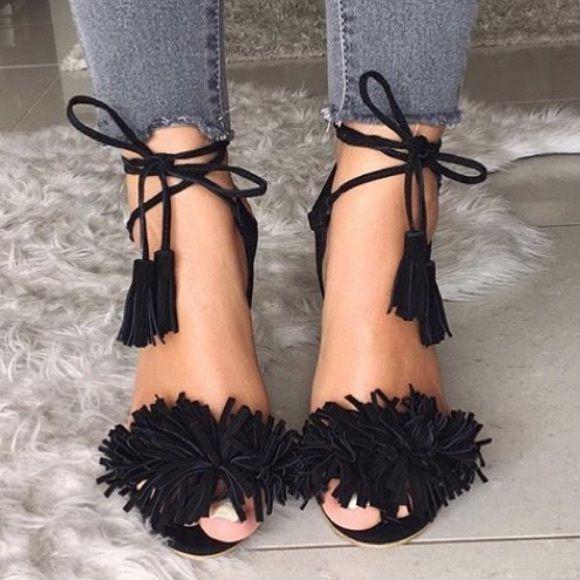 008b2c45175 Steve Madden Sassey Back Fringe Heels Worn once! Beautiful black fringe  heels by Steve Madden. Steve Madden Shoes Heels