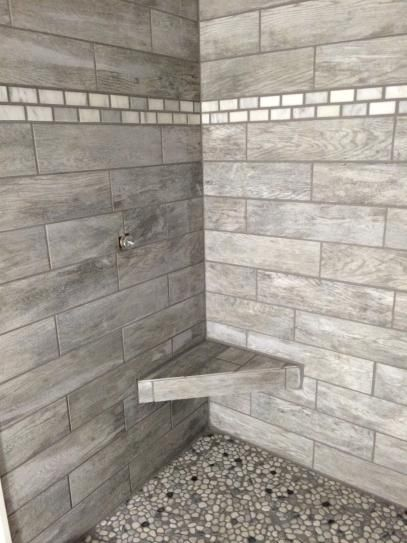 Marazzi montagna dapple gray 6 in x 24 in porcelain - Home depot bathroom tile installation cost ...
