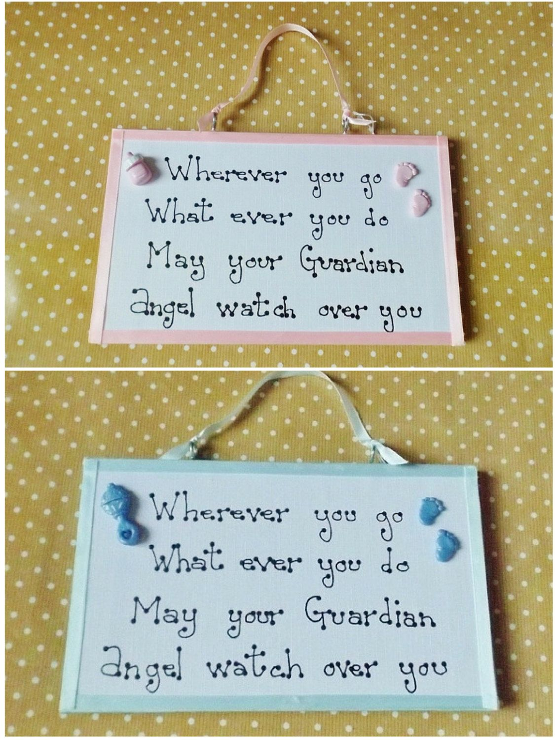 Guardian angel quote plaque baby girl or baby boy nursery wall