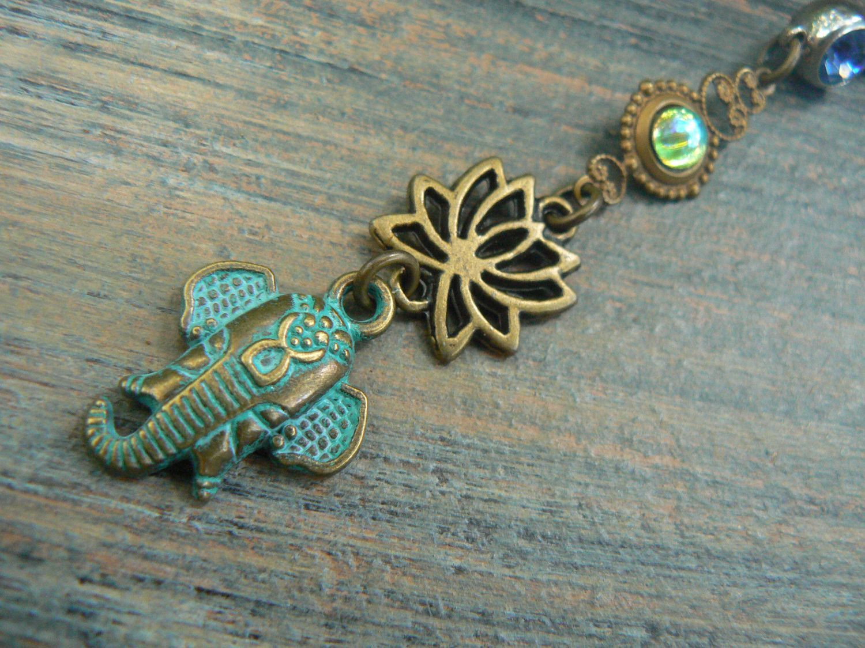 Ganesha belly ring lotus flower belly ring spiritual belly ring zen elephant in yoga boho gypsy belly dancer style