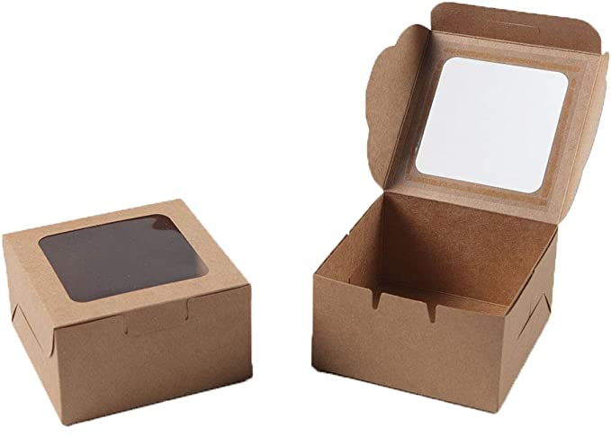 Amazon Com Kraft Paper Bakery Boxes 25 Pack Single Pastry Box 4 Inch Packaging With Clear Display Window Donu Bakery Boxes Cake Slice Packaging Mini Cakes