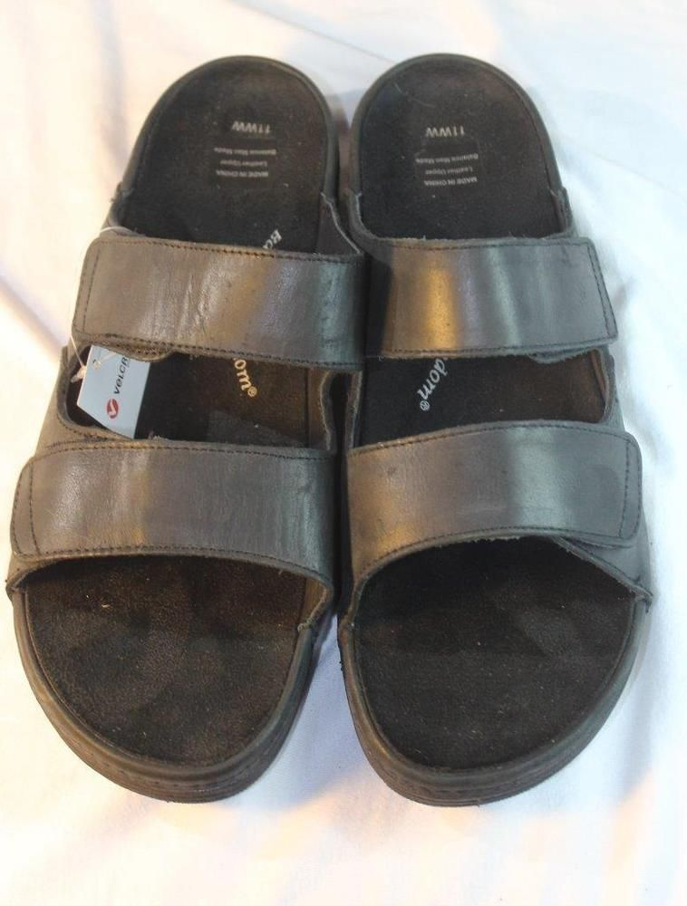 48061e69a Barefoot Freedom by Drew Milan Velcro Sandals Leather Black Orthotic Womens  11WW  Drew  Slides  Casual