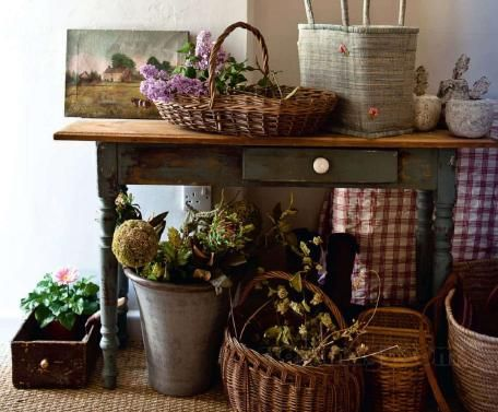 English Cottage With Vintage Touches Art Baskets Chalk