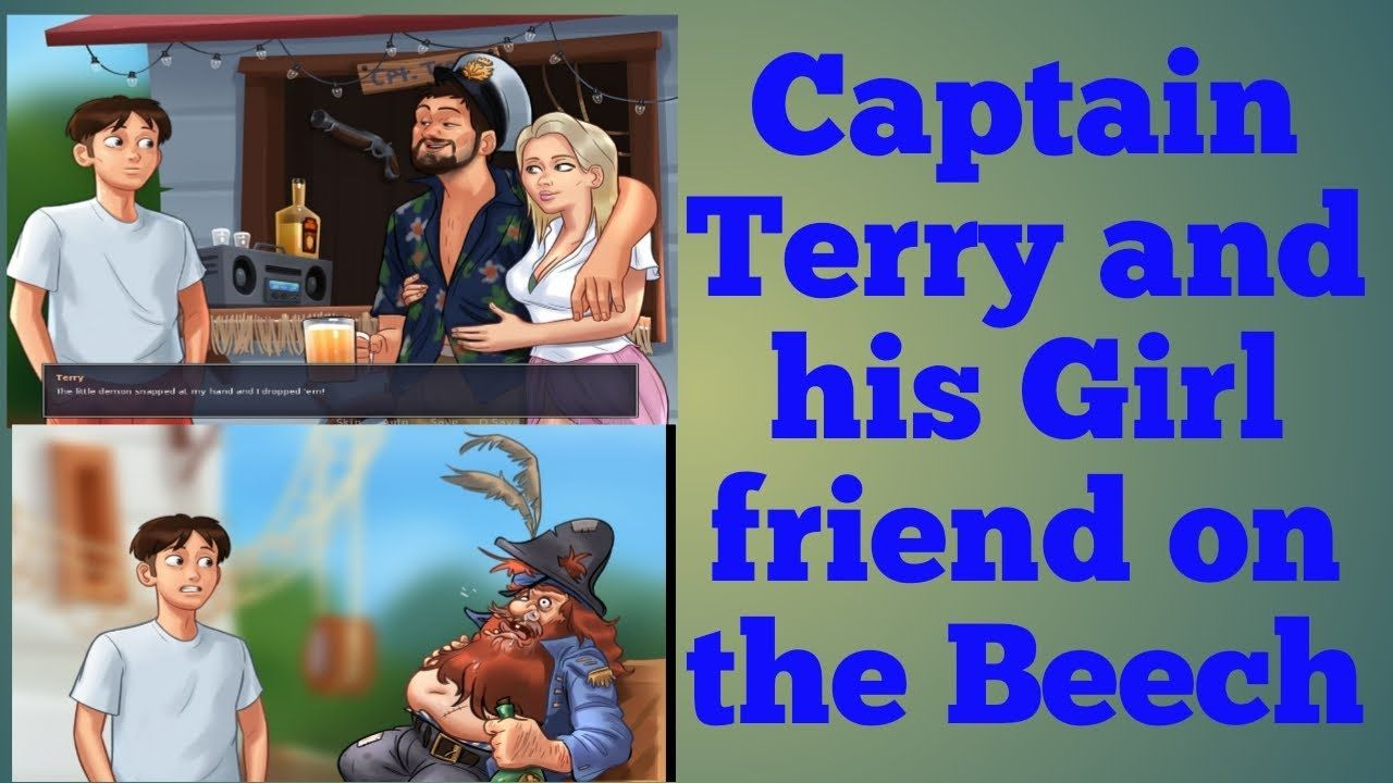 Captain Terry And His Girl Friend Sara On Beech In Summertime Saga Game Girlfriends Terry Captain