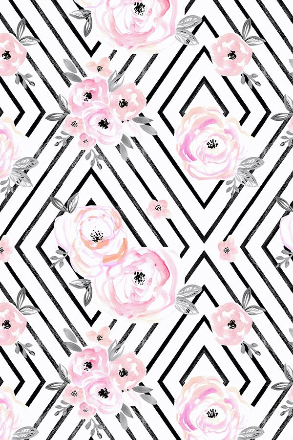 Colorful Fabrics Digitally Printed By Spoonflower Blush Roses Mod Flower Wallpaper Iphone Wallpaper Floral Wallpaper Backgrounds black white and pink
