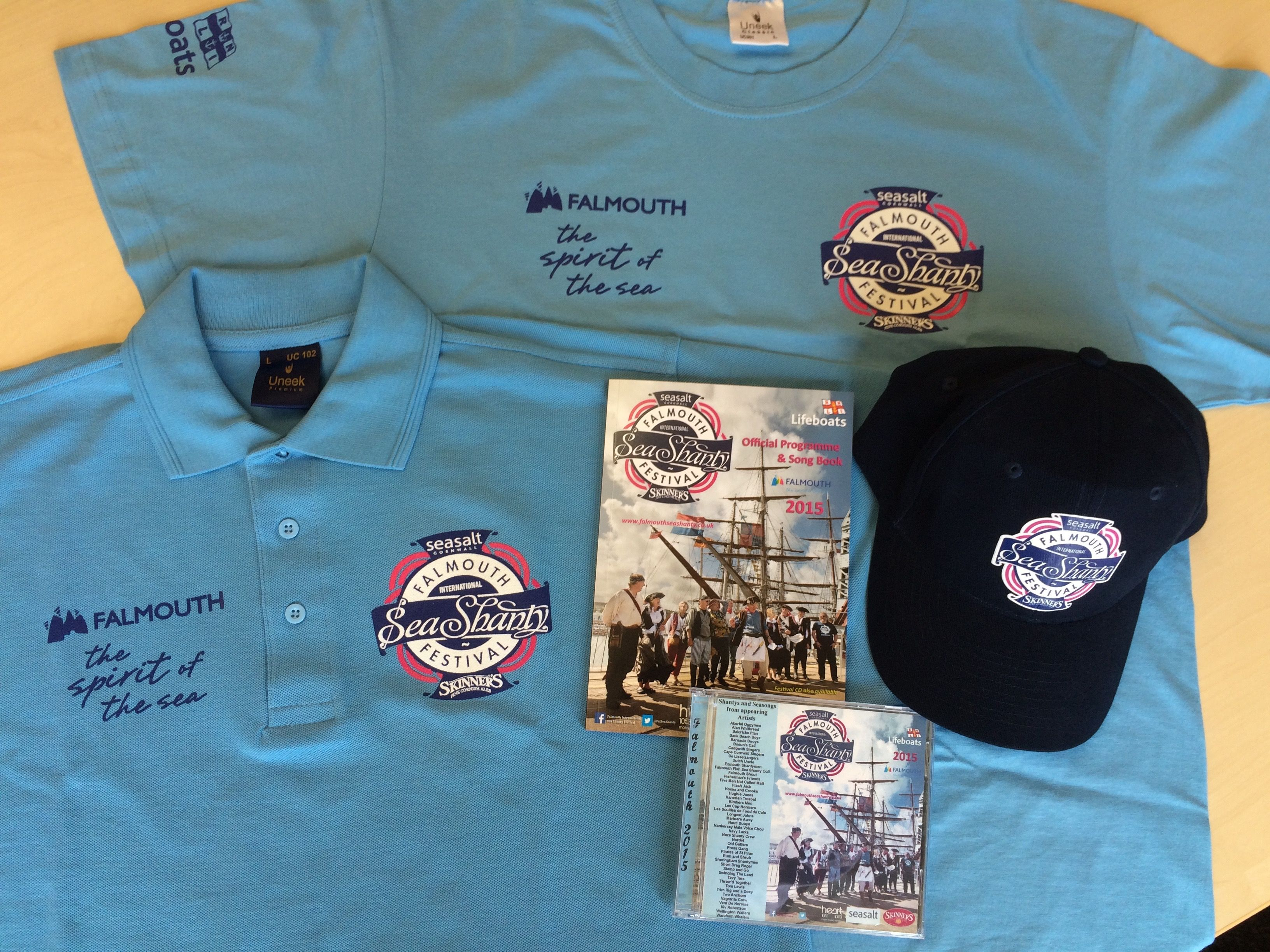 You can get your official merchandise online now at www.falmouthseashanty.co.uk. On the weekend we'll be selling T-shirts, polo shirts, badges, caps, programs and CD's at the Festival Shop on Custom House Quay and also in the Cornish Store, on Arwenack Street.