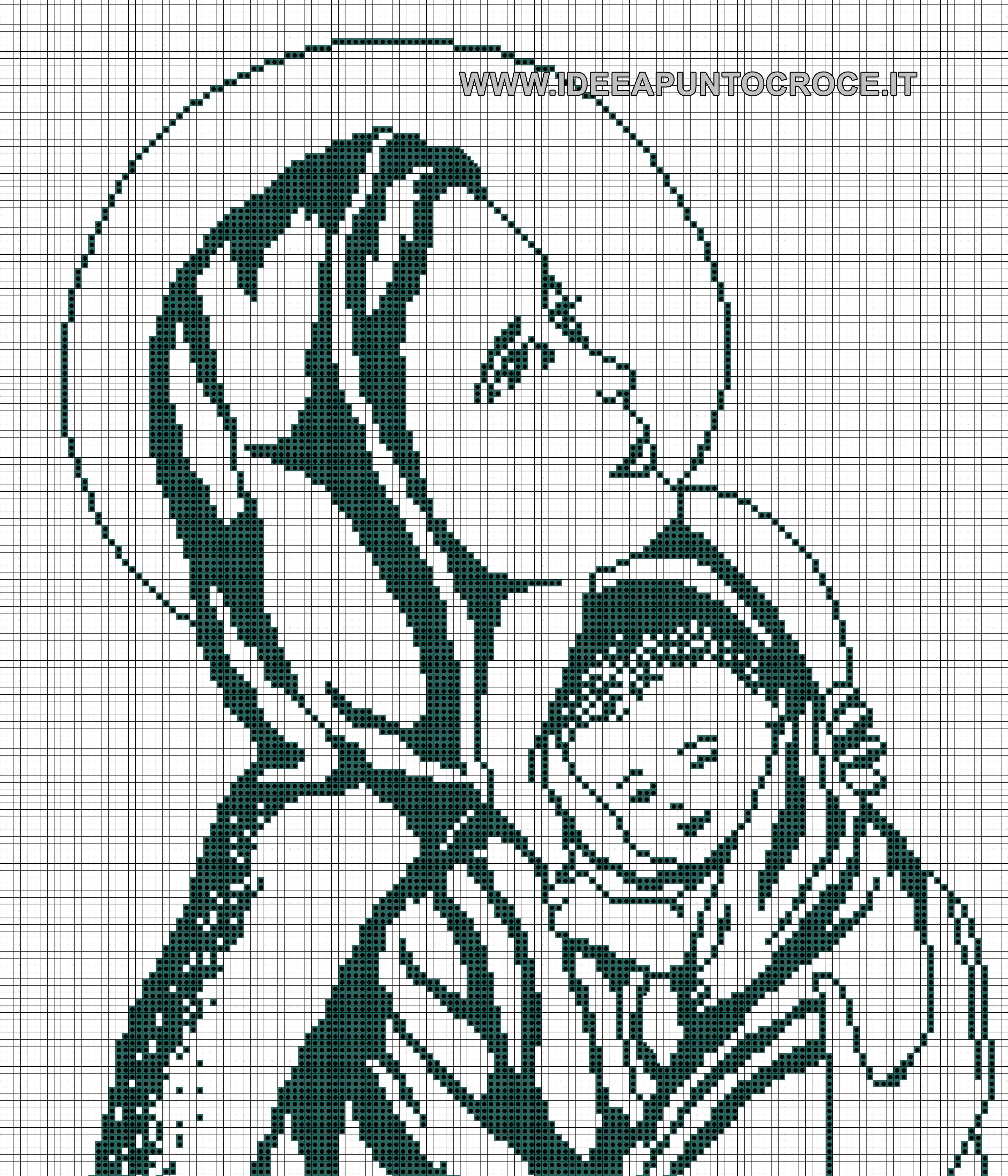 Schema madonna monocolore punto croce cross stitch for Immagini di punto croce
