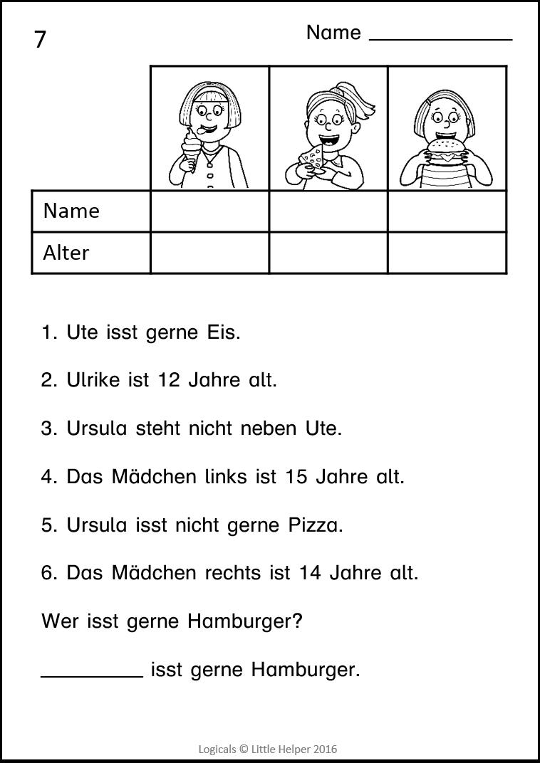 German Logic Puzzles | Klasse, Schule und Lesen