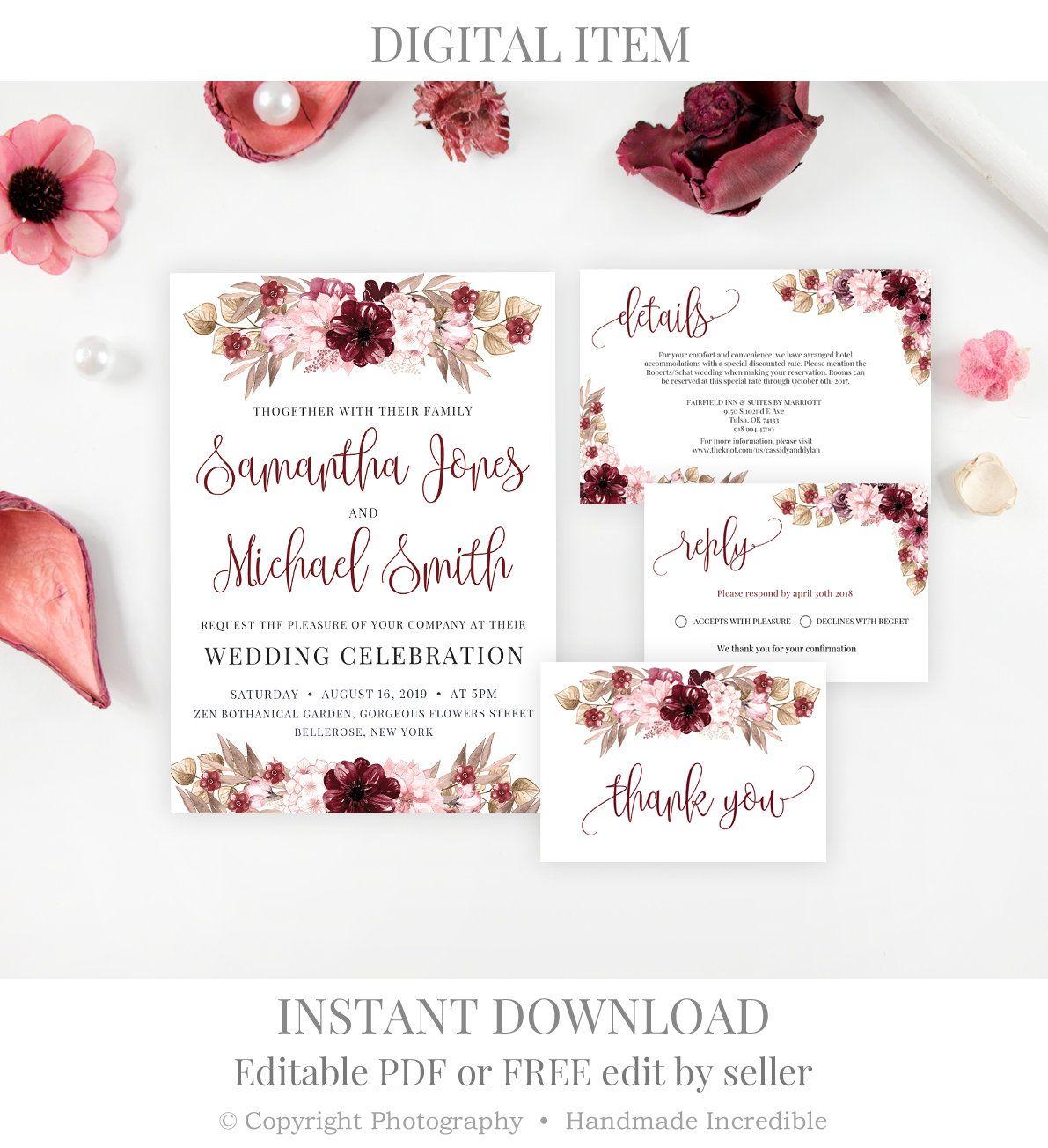Burgundy Wedding Invitation Template Printable Marsala Floral Bohemian Wedding I Bohemian Wedding Invitations Burgundy Wedding Invitations Wedding Invitations