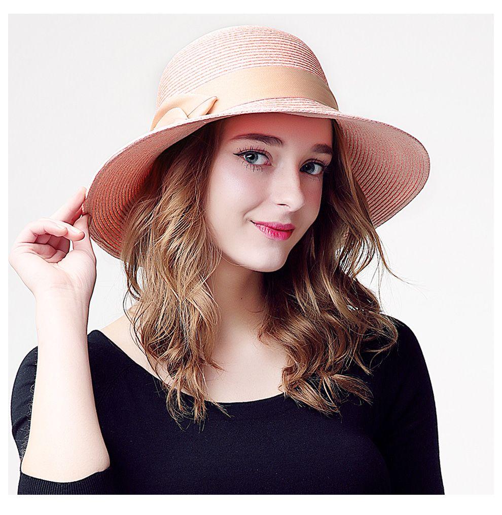 4bdd8bd0a7ab2 fashion beach hat female summer sun hat foldable wide brim straw hats for  girls big bow straw hat cute SW222006 – hatstores.net