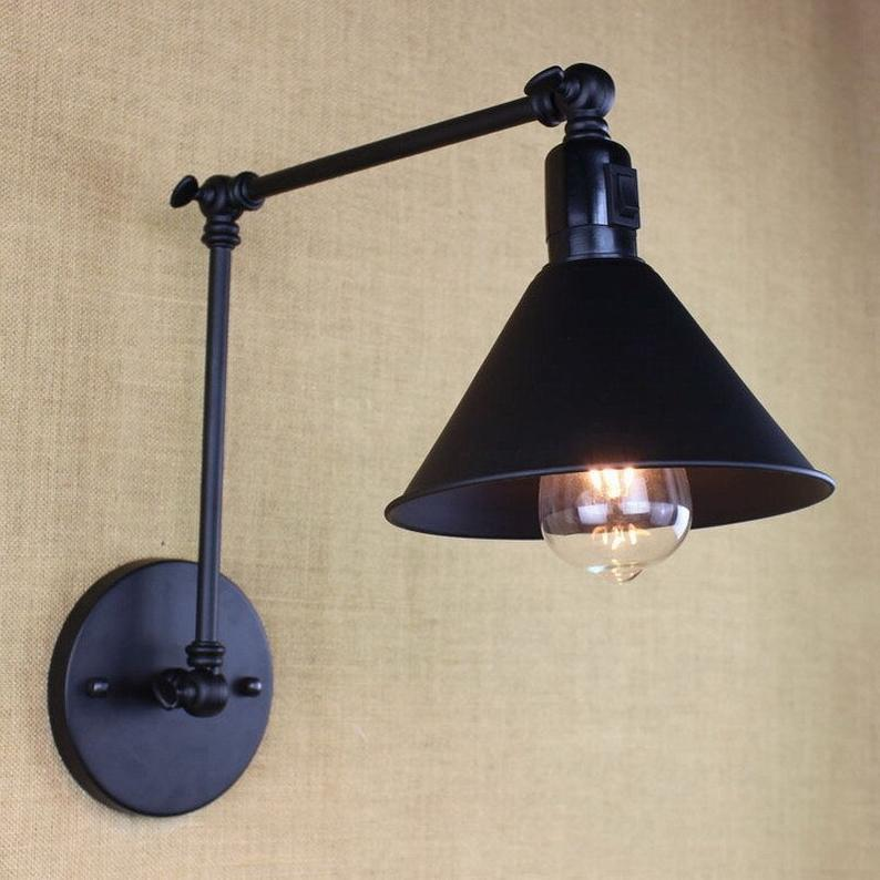 Black Wall Light Edison Retro Lamp Rustic Industrial Light Loft Vintage Design Wall Sconce Light Fixture Bathroom Bedroom Living Dinning Adjustable Wall Light Metal Wall Light Wall Sconce Lighting