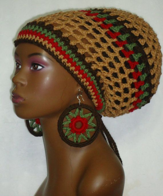 Crochet Reggae Hat Pattern   Earth Tone Crochet Rasta Tam Cap Hat ...