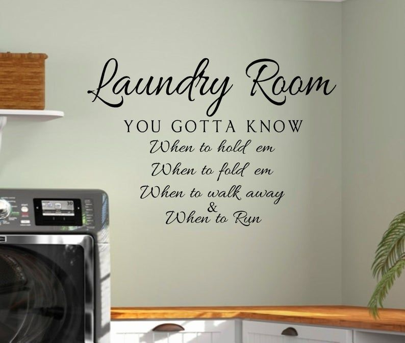 Laundry Vinyl Wall Decal Laundry Know When To Hold Em Laundry Etsy Wall Decals Laundry Laundry Room Signs Laundry Room